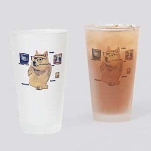 Hipster Doge Hipster things Drinking Glass