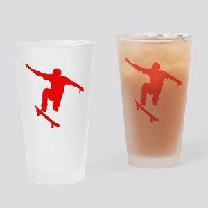 Red Skateboarder Drinking Glass