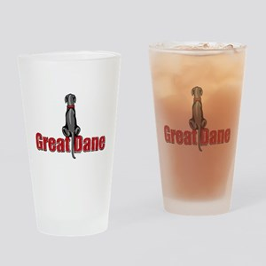 Black Great Dane UC Fence Sit Drinking Glass