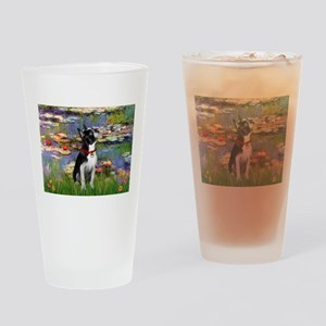 Lilies /Boston Terrier Drinking Glass