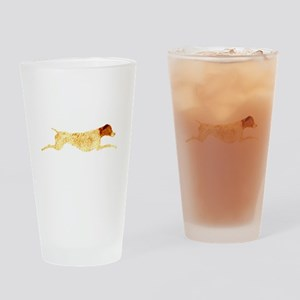Leaping Liver & White GSP Drinking Glass