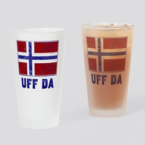 Uff Da Norway Flag Drinking Glass