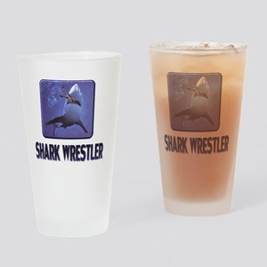 sharkwrestler01 Drinking Glass