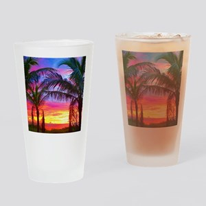 Captiva Island Sunset Palm Tree Drinking Glass