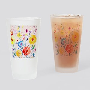 Watercolor Abstract Poppy Pink Back Drinking Glass