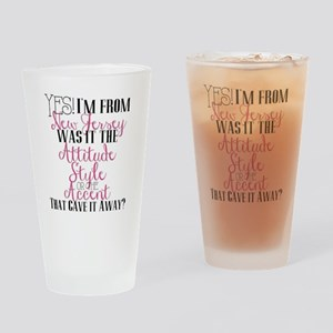 New Jersey Girl (Pink) Drinking Glass