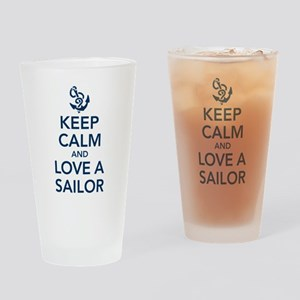 Keep Calm and Love a Sailor Drinking Glass