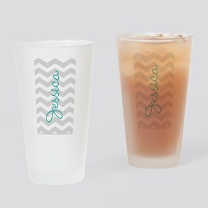 Custom name gray chevron Drinking Glass