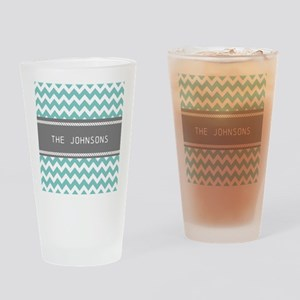 Teal Blue and Gray Modern Chevron P Drinking Glass