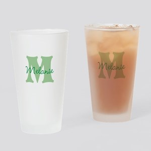 CUSTOM Green Monogram Drinking Glass