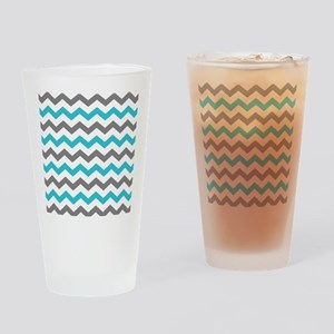 Teal and Gray Chevron Pattern Drinking Glass