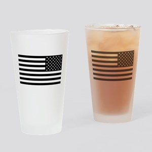 U.S. Flag: Black Reverse Drinking Glass