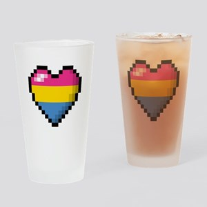 Pansexual Pixel Heart Drinking Glass