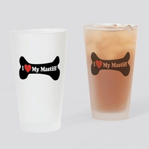 I Love My Mastiff - Dog Bone Drinking Glass