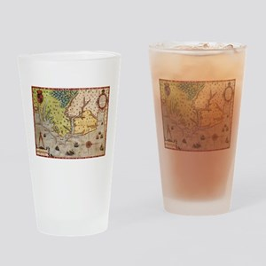 Vintage Map of The North Carolina C Drinking Glass