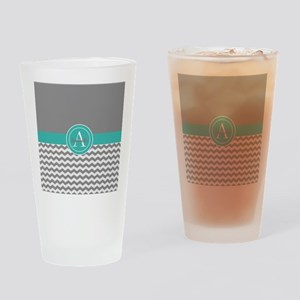 Gray Teal Chevron Drinking Glass