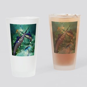 Awesome marlin with jellyfish Drinking Glass
