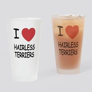 I heart hairless terriers Drinking Glass