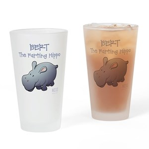 BERT THE FARTING HIPPO Drinking Glass