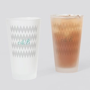 Gray Chevron Teal Monogram Drinking Glass