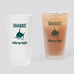 Shark Happy Drinking Glass