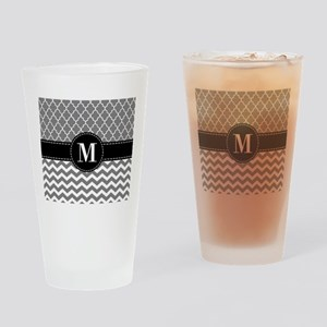 Black Gray Chevron Monogram Drinking Glass