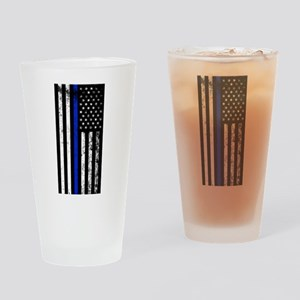 Vertical distressed police flag Drinking Glass