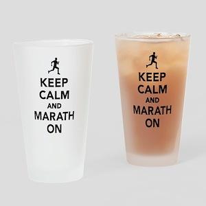 Keep calm and Marathon Drinking Glass