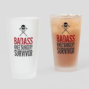 Badass Knee Surgery Survivor Drinking Glass