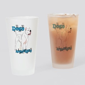 Dogo Argentino Blue Letters Drinking Glass