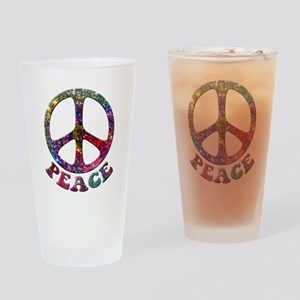 Jewelled Peace Symbol Drinking Glass