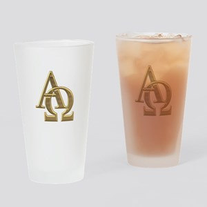 """3-D"" Golden Alpha and Omega Symbol Drinking Glass"