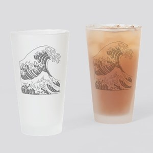 great_wave_grey_10x10 Drinking Glass