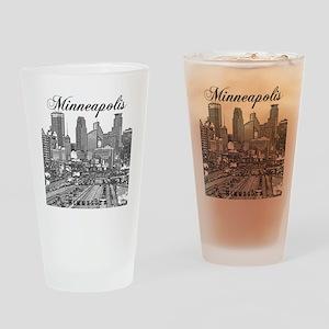Minneapolis_10x10_Downtown_Black Drinking Glass
