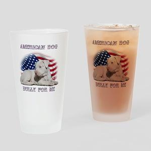 Amerian Flag Dog, Bully for Me Drinking Glass