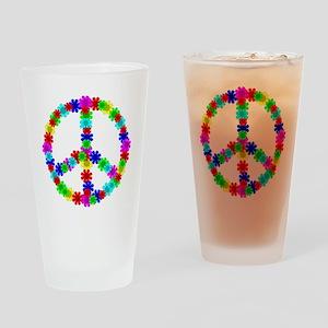 1960's Era Hippie Flower Peace Sign Drinking Glass