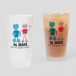 60 Year Anniversary Robot Couple Drinking Glass