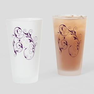 Purple Scroll - White Font Drinking Glass