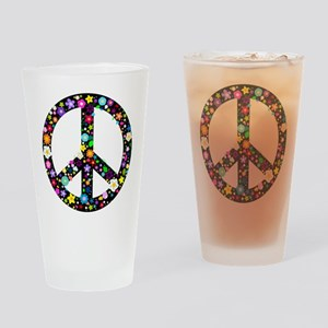 Hippie Flowery Peace Sign Drinking Glass