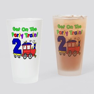 Get On The Party Train 2 Year Old Drinking Glass
