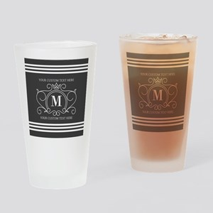 Gray Victorian Stripes Personalized Drinking Glass