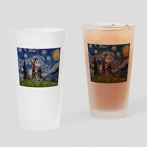 Starry Night / Tiger Cat Drinking Glass