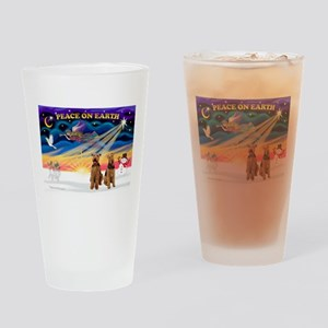 XmasSunrise/2 Airedales Drinking Glass