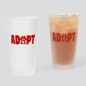 Cute Pets Paw Cat Dog Adopt Red Drinking Glass