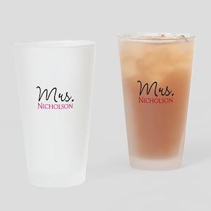 Customizable Name Mrs Drinking Glass