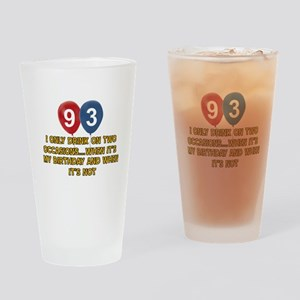 93 year old birthday designs Drinking Glass