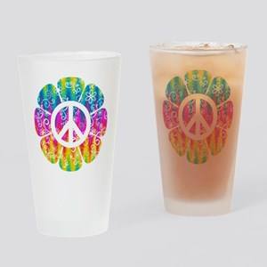 Colorful Peace Flower Drinking Glass