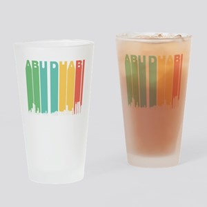 Retro Abu Dhabi Skyline Drinking Glass