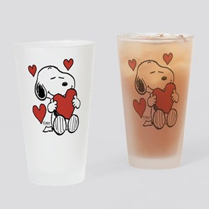 Snoopy on Heart Drinking Glass