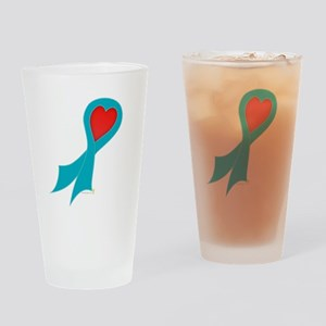 Teal Ribbon with Heart Pint Glass